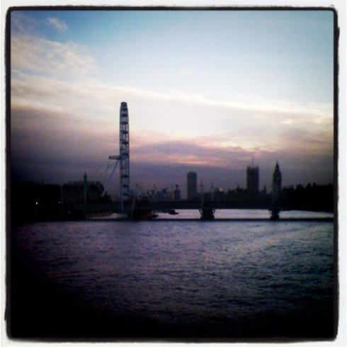 London Eye, Big Ben and Parliament on the River Thames from Waterloo Bridge